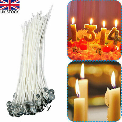100/200X Pre Waxed Wicks for Home Candle Making Cotton with Sustainers 20cm Long