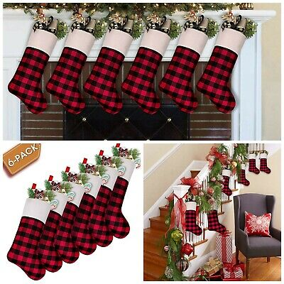 Christmas Stockings 6 Pack Xmas Decor Buffalo Plaid with Cuff Holiday Ornaments