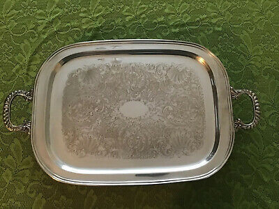"""Large Vintage W.S. Blackinton # 482 Silver Plate Footed 23 1/2"""" Serving Tray"""
