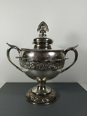 Victorian Silver Plated Sugar Spooner Repousse Floral