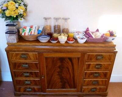 Beautiful Hand Made Antique Walnut And Maple Sideboard