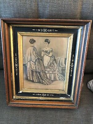 Victorian Eastlake Deep Carved Picture Frame Old Victorian Dress Print Must SEE