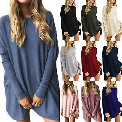 Womens Long Sleeve Tunic Tops Jumper Baggy Oversized Mini Dress Pullover UK 8-22