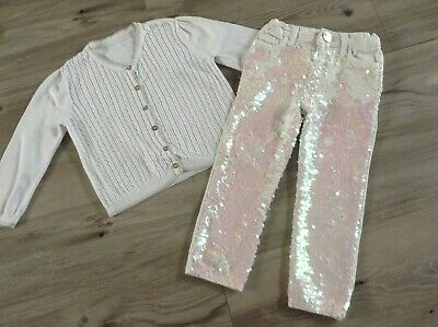 (W8) Nutmeg River Island Girls Small Bundle / Outfit 2-3Yrs Cardigan Sequin Jean