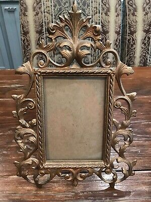 """Antique Victorian Cast Iron Metal Frame With Easel 4"""" x 6"""" Photo Space"""