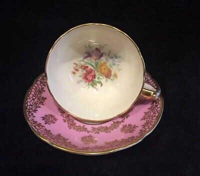 Vintage Double Warrant Paragon Teacup and Saucer, Pink W/Gold and Flowers