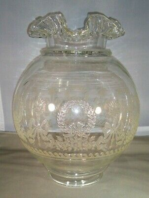 Antique Victorian Ruffled Edge Clear Glass Old Globe~Wreaths & Ribbons~Embossed