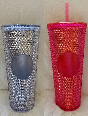 Starbucks Acrylic Iridescent Siren Logo Hot Pink Silver Studded Cold Cup Tumbler