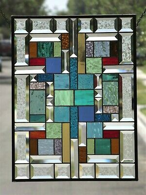 """•Embrace Color•Beveled Stained Glass Window Panel - 20 1/4"""" x 15 1/2"""""""