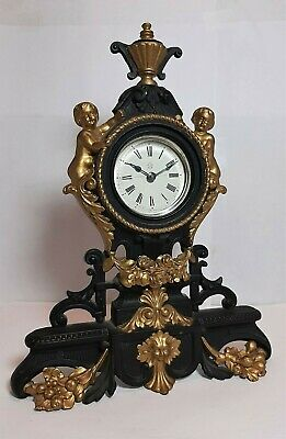 Antique Ansonia Cherub Cast Metal Wind-Up Mantel Clock Patented 1878