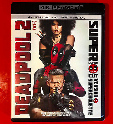 Deadpool 2 Unrated & Uncut 4K Ultra Hd/Bluray Set With Slipcover 4 Disc