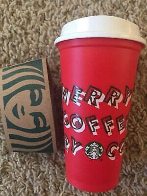 Starbucks Merry Coffee Holiday Christmas Reusable Red Cup Lid Grande 16 oz 2019