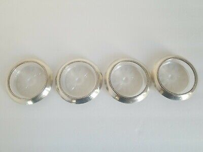 STERLING SILVER & Glass Coasters • FRANK M. WHITING & CO, USA • Set of 4 • EUC