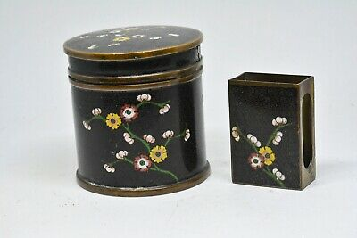 Antique Chinese Export Cloisonné Tobacco Jar and Match box -🐘