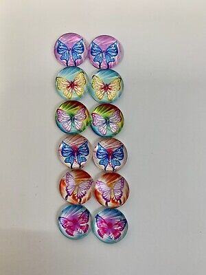 6 Pairs Of 10mm Glass Cabochons #491