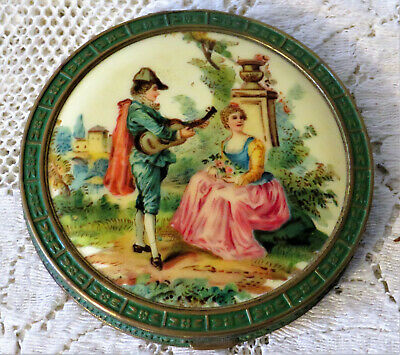 Vintage Art Deco Green Enameled Powder Compact Double Sided Courting Scene