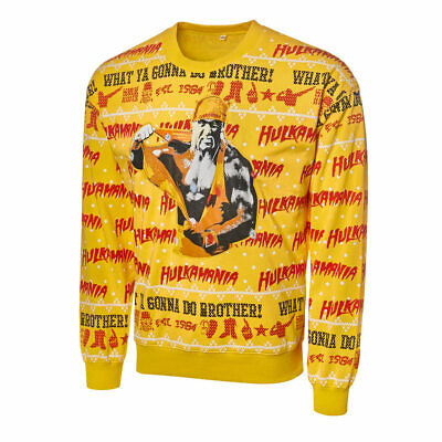 Official WWE Authentic Hulk Hogan Light Up Ugly Holiday Sweatshirt 2019 Multi