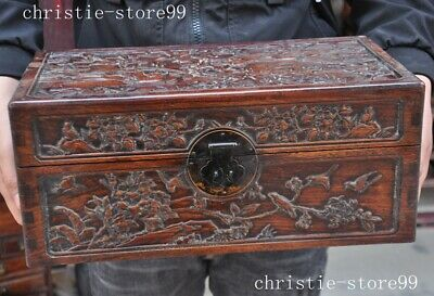 old China Huanghuali wood Hand carved Birds and flowers storage box Jewelry Box