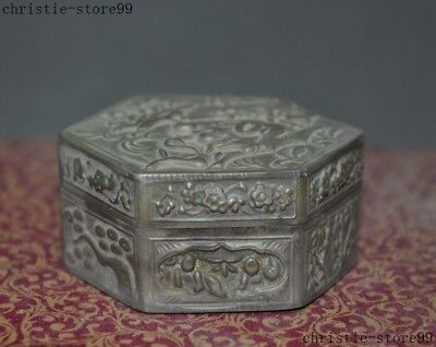 Old Chinese Tibetan silver Antiquity people bamboo pine statue Rouge box boxes