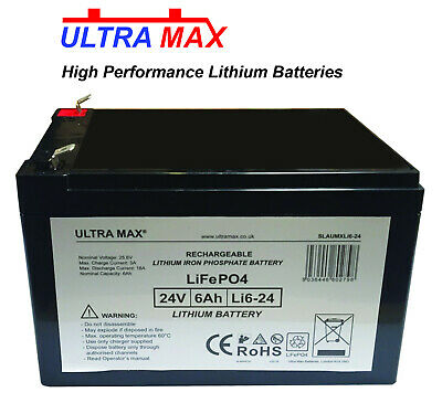 Ultra max LiFePO4 Lithium 24V 6AH Batterie Mobilité Medicare/Travellease