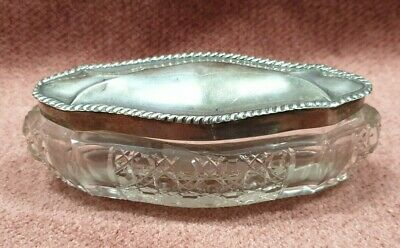 Antique Vintage Crystal Dish With Silver Lid Hallmarked Birmingham England