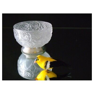 Frosted Glass Bowl Rose Pattern Nuts Candies Berries Silver Plated Bottom Gift