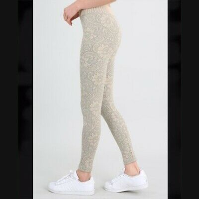 New Cream Colored Floral Leggings by Nikibiki One Size