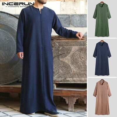 Men Muslim Ethnic Kaftan Saudi Arab Thobe Islamic Jubba Thobe Kaftan Tunic Dress