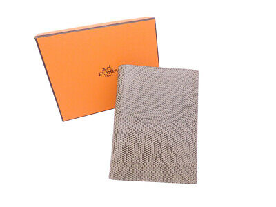 Auth HERMES Square G (2003) Ombre Note/Agenda Cover Lizardskin Leather - e42659