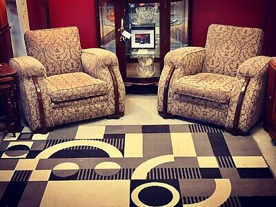 Original 1930's Pair of Art Deco Club Chairs with gorgeous Warrick Upholstry