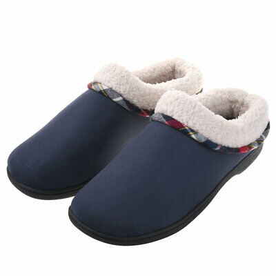 Men's Memory Foam Winter Slippers Wool-Like Plush Lining House Shoes Anti-Skid