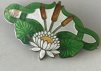Antique Fantastic Sterling Silver Guilloche Enamel Lotus Pond