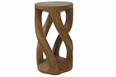 carved stool solid twisted wood column chair seat brown