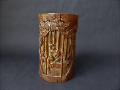 Antique Chinese Bamboo Brush Pot - Carved Relief & Undercut Detail