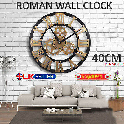 New 40CM Outdoor Garden Large Wall Clock Vintage Roman Numeral Gear Rustic UK