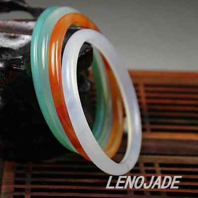 LOT OF FOUR Small&Thin 54-55MM Icy Green Red White Jade Jadeite Bangle Bracelet