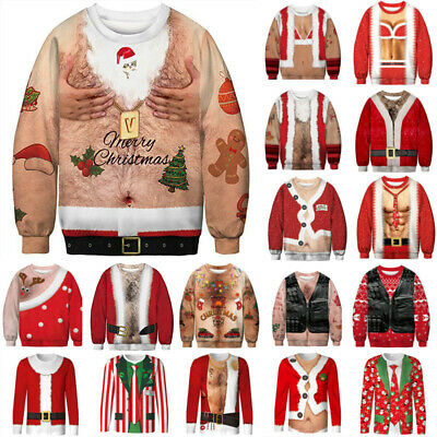 Christmas UGLY Sweater Xmas Novelty 3D Sweatshirt Party Pullover Jumper Costume