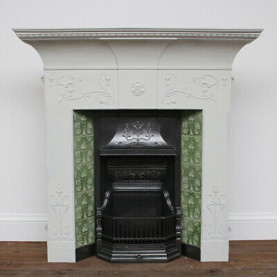 Large original antique Edwardian Art Nouveau cast iron combination fireplace