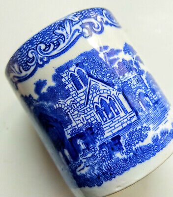 Vintage Old Blue & White China Pot Tub Abbey 1790 England Goones & Sons