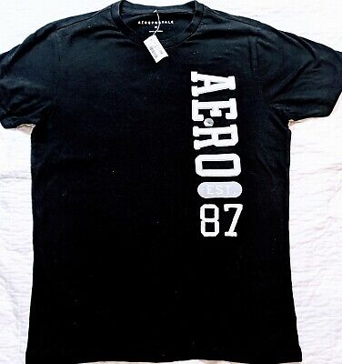 Aeropostale T-Shirt Black With AERO Eat. 87 On Front size Medium With Tags Brand