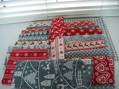 Scandinavian Christmas fabric for quilting, sewing, applique, craft 27 pieces