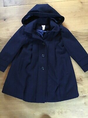Monsoon Girls Navy Blue Winter Coat With Detachable Hood, Age 7 To 8 Years