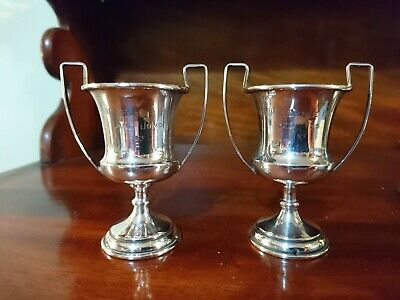 Pair Small Hallmarked Chester Silver Trophy Hms Eagle