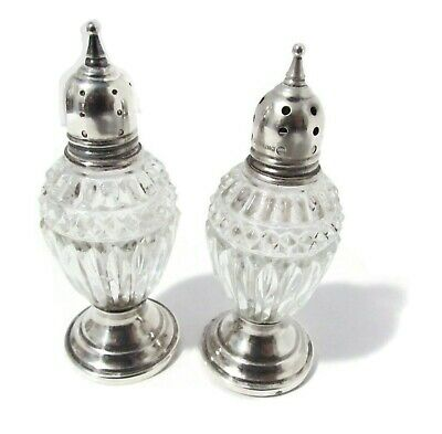 "Antique Sheffield 4"" Salt Pepper Shakers Set Crystal Sterling Silver Weighted"