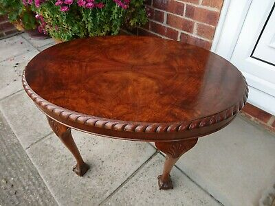 CARVED ANTIQUE OVAL BURR WALNUT COFFEE TABLE Excellent Condition