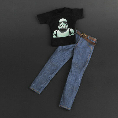 "1/6 Scale Fashion Black T-shirt + Jeans + Belt Set For 12"" Male Hot Toys Figure"