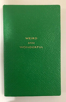 "Smythson Panama Lined Notebook Green Leather ""Weird And Wonderful"""