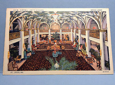 New Hotel Jefferson Grand Lobby St Louis MO Vintage Postcard Color
