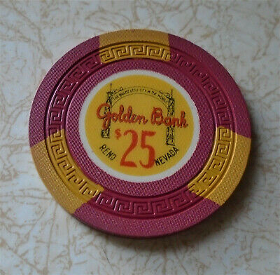 Obsolete, Early Golden Bank Casino $25.00 Casino Chip
