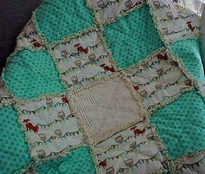Baby Girl Rag Quilt~ Owls and Dots ~